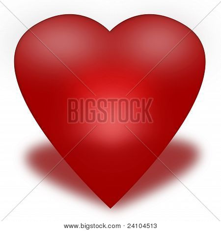 Heart of red glossy surround on a white background
