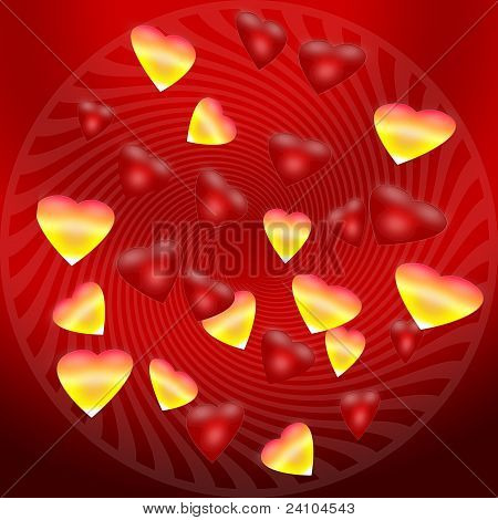 The background of gold and red hearts
