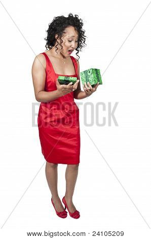 Black Woman Opening A Valentines Present