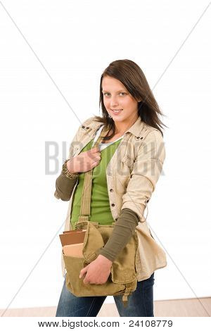 Student Teenager Girl With Schoolbag Posing