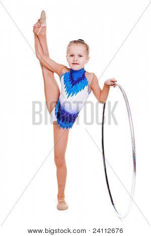 Jovem ginasta rítmica com aro