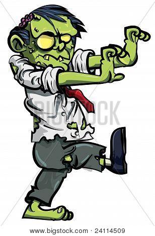 Zombie de la historieta, con cerebros expuestos, aislado en blanco