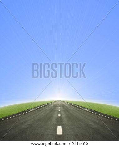 Road Leading Into The Sun