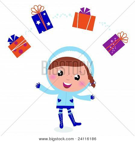 Cute Winter Child Jugglery With Christmas Gifts Isolated On White..