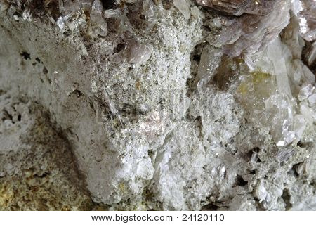 Close up of slice of mica-lipidolit crystals