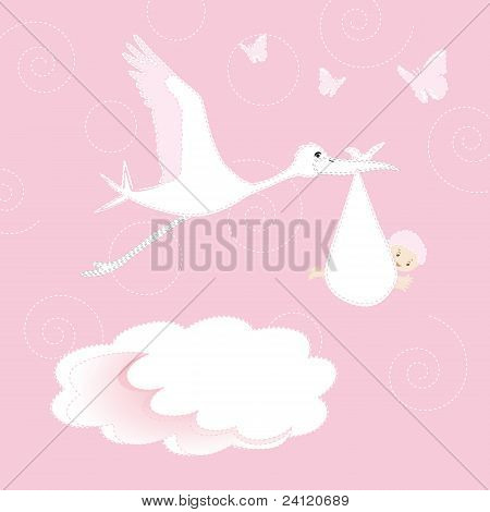 Baby Newborn And Stork