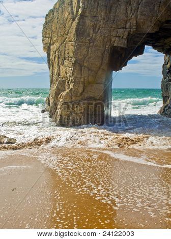 Big natural hole in rock