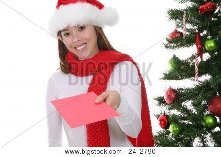 Woman Giving Christmas Card