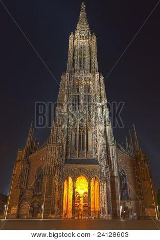 Ulm Minster (ulmer Muenster), Germany, At Night
