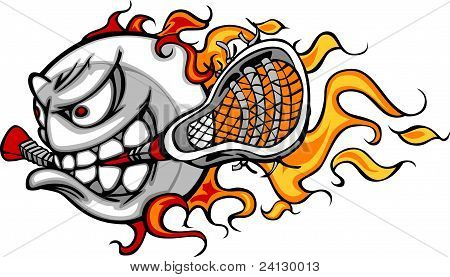 Lacrosse Ball Flaming Face Vector Image
