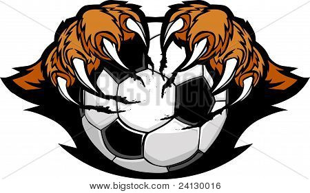 Soccer Ball With Tiger Claws Vector Image