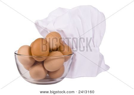 Brown Eggs And Chef Hat