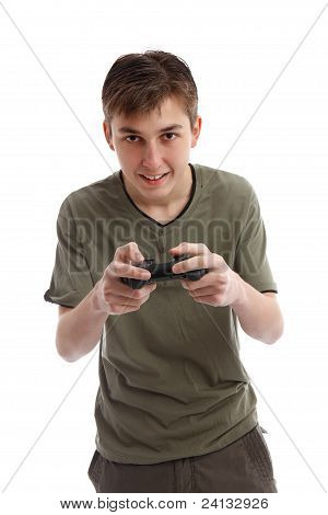 Happy Teen Boy Playing A Game