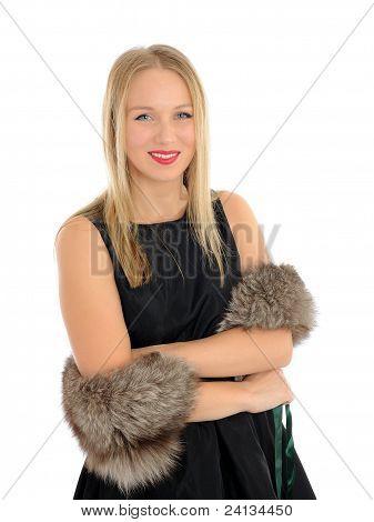 Beautiful Woman In Elegant Animal Fur Jacket. Isolated On White Background