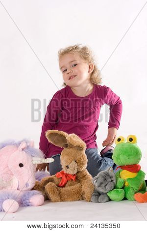Girls with stuffed animals