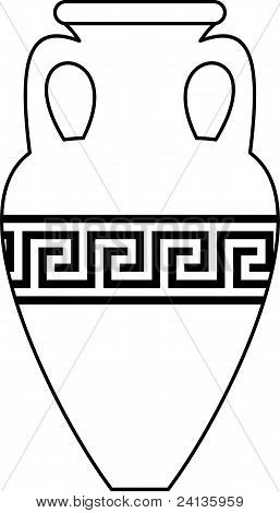 Ancient amphora (vase) with  meander pattern