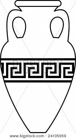 Ancient amphora (vase) with  meander pattern