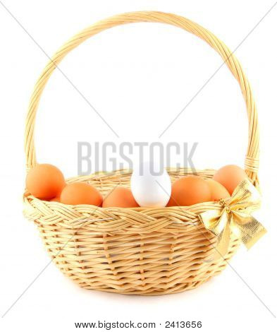 Easter Basket With A Golden Bow