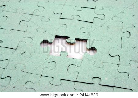 Close up of a Jigsaw with elements missing