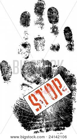 Red Stop sign on a handprint (Vector Format)
