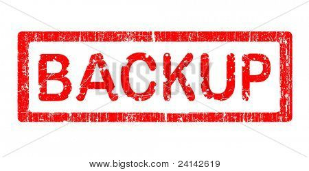Grunge Office Stamp with the words BACKUP in a grunge splattered text. (Letters have been uniquely designed and created by hand)
