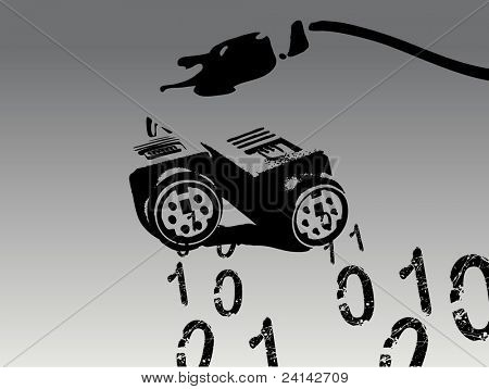 Computer Cable spewing out Binary Numbers (Vector Illustration)
