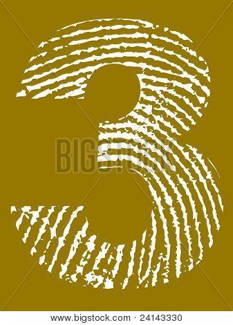 Grunge Fingerprint Alphabet - Number 3 (Highly detailed grunge letter)