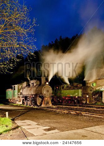 steam locomotives at night, Oskova, Bosnia and Hercegovina
