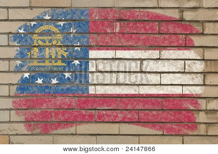 Flag Of Georgia On Grunge Brick Wall Painted With Chalk