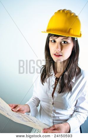 An Architect Woman Holding Plans