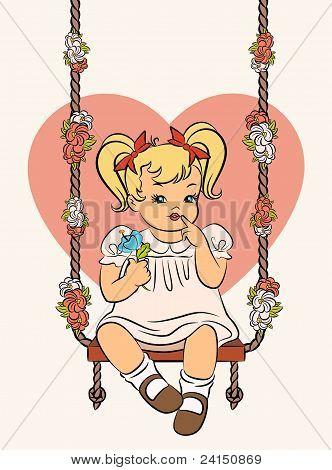 Chica de dibujos animados vintage con un columpio en el fondo del corazón.