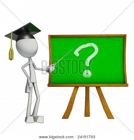 3D Teacher And Green Board
