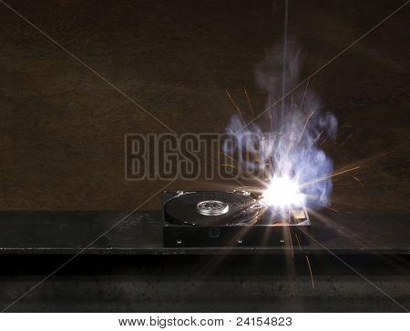 Welding A Hard Disk