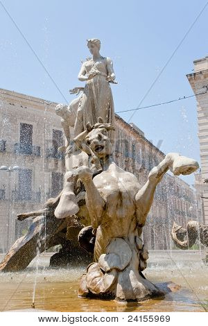 Fountain On Piazza Archimede In Syracuse