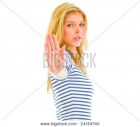 Serious Teen Girl Showing Stop Gesture