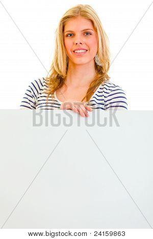 Lovely Teen Girl With Blank Billboard