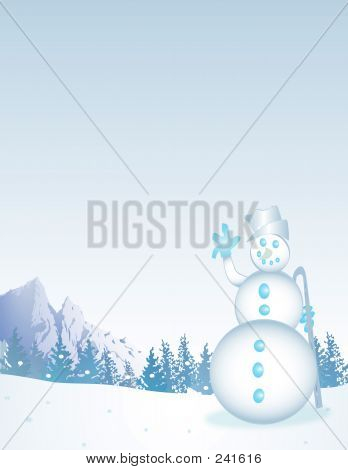 Frosty Winterscene With Snowman