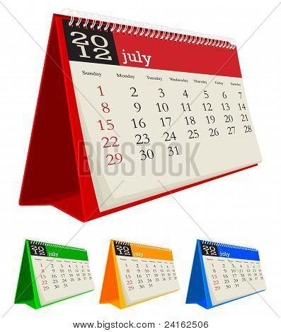 july 2012 desk calendar