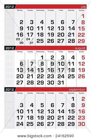 August 2012 Three-Month Calendar