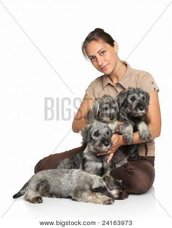 Attractive Young Woman With Dogs