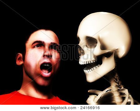 Scared Man And Skull