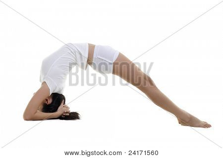 Frau im Yoga, invertiert Personal Haltung (Dvi Pada Viparita Dandasana), auf weißem Hintergrund