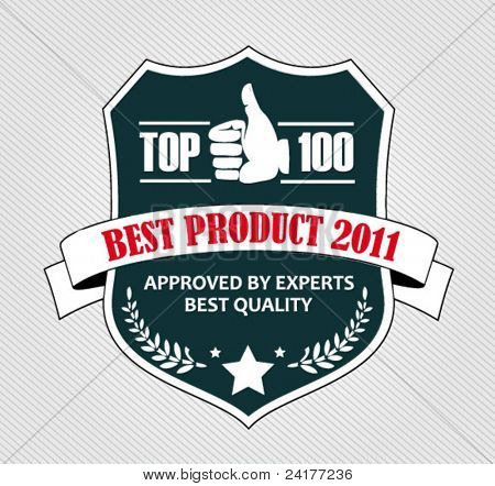 retro shield with best product vector illustration