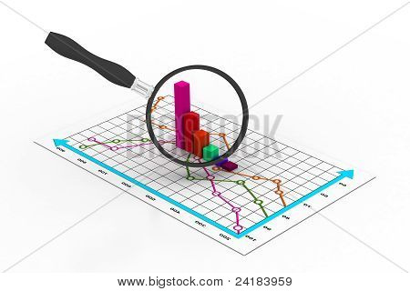 Financial graph and magnifying glass