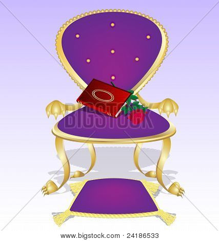 purple armchair and red book with rose