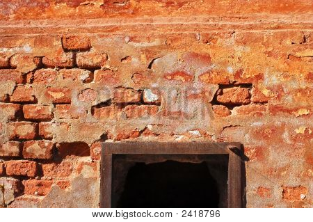 Brick Wall With Black Hole