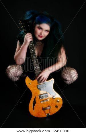 Blue Hair Guitar Girl
