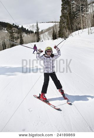 Young Girl Having Fun on the Ski Slopes