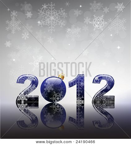 2012 flyer template. 2012 written in blue glossy letters with bauble as the zero. Snow and reflection on silver snowflake background with space for your text.  EPS10 vector format.