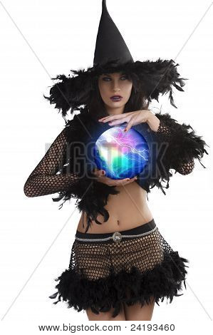 The Young Witch Posing With Magic Ball
